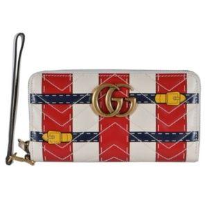 Gucci GG Marmont Trompe L'oeil Zip Wristlet Wallet